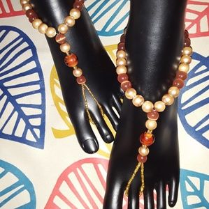 Other - Brown Gold Glass Beads Barefoot Sandals *Handmade